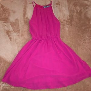 Hot pink halter style dress from Francesca's